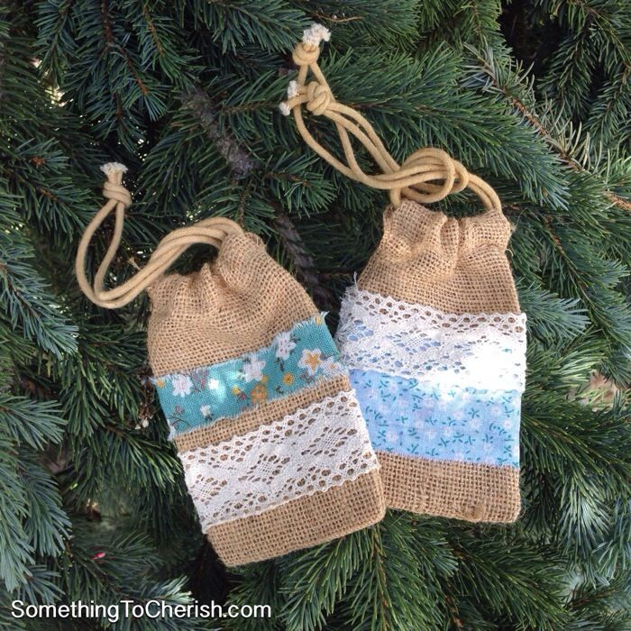 No-Sew Natural Burlap Drawstring Bags Craft