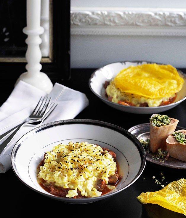 Saffron risotto with osso buco and gremolata :: Gourmet Traveller
