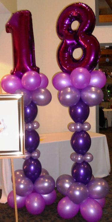 Birthday party balloon stand idea.