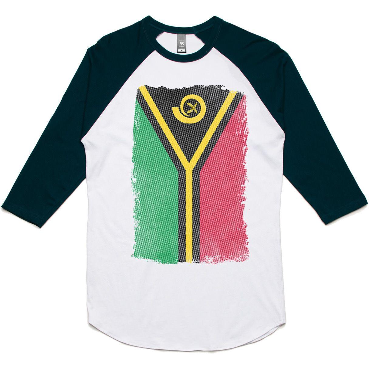 theIndie Weathered Flag of Vanuatu 3/4-Sleeve Raglan Baseball T-Shirt