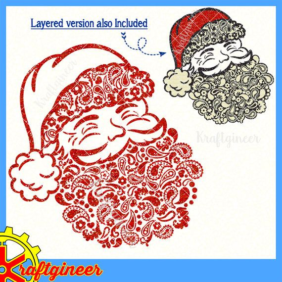 Commercial Use The Paisleys Form The Shape Of The Santa Two Versions Of The Des Cricut Christmas Ideas Christmas Svg Silhouette Crafts