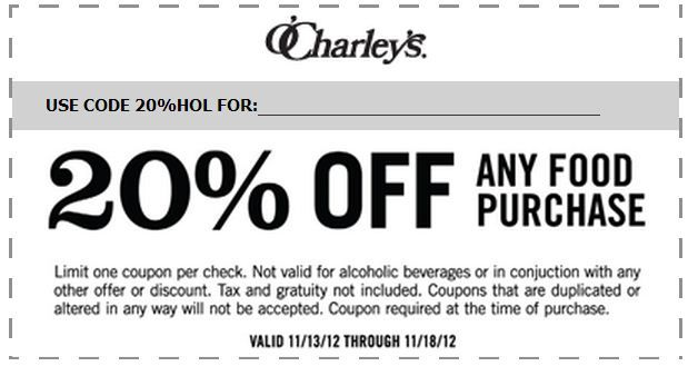 graphic regarding O'charley's 20 Off Printable Coupon known as OCharleys: 20% off Printable Coupon Conserve some fiscal