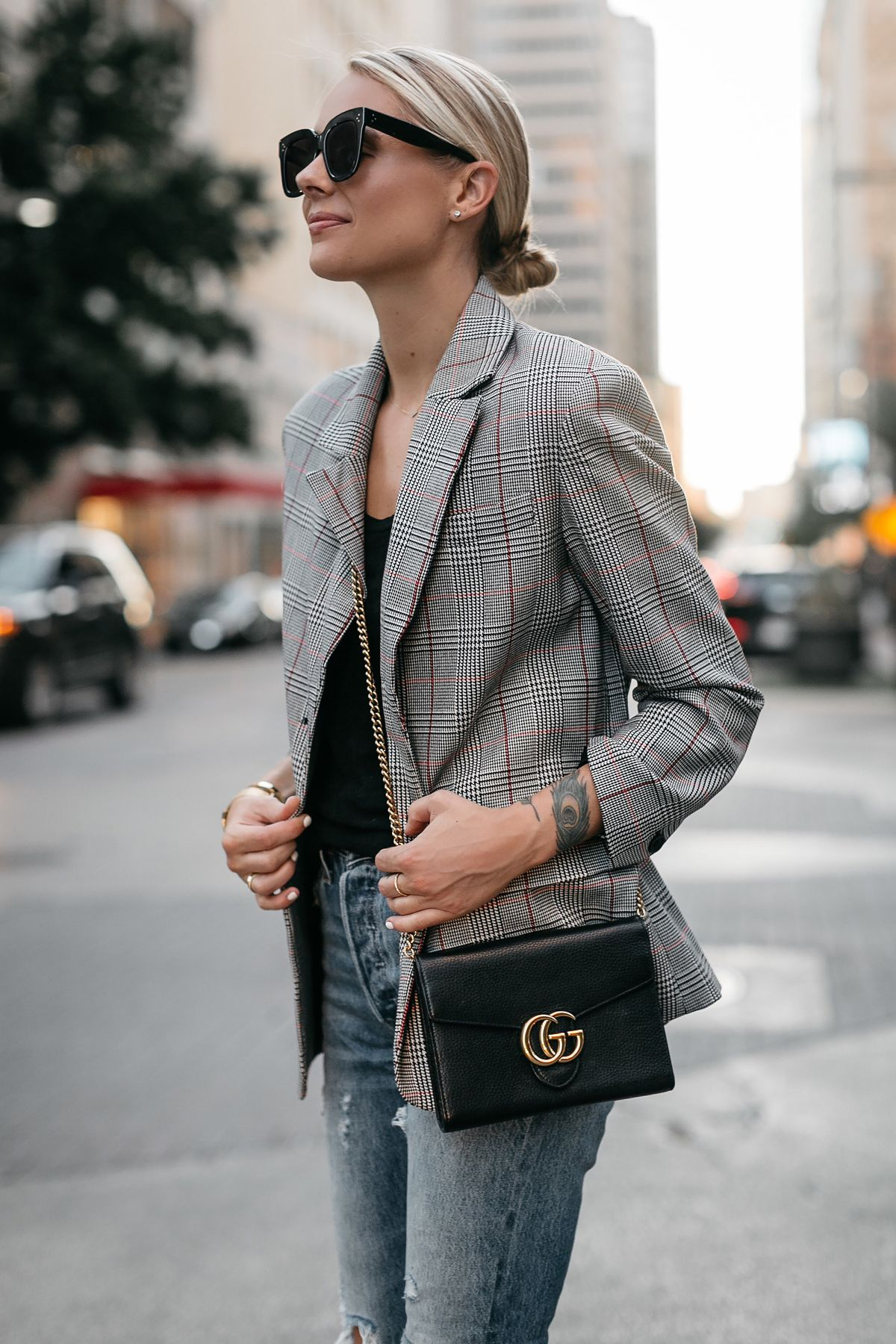 23a91925834 Blonde Woman Wearing Zara Plaid Blazer Denim Jeans Gucci Marmont Handbag  Fashion Jackson Dallas Blogger Fashion Blogger Street Style