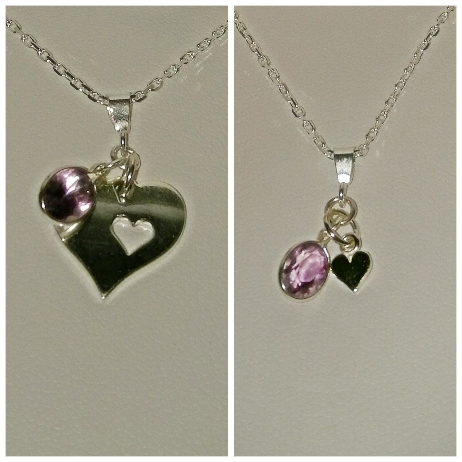 Sterling silver and amethyst mother and daughter 'a piece of my heart' pendant set by BohoBoutiquex on Etsy