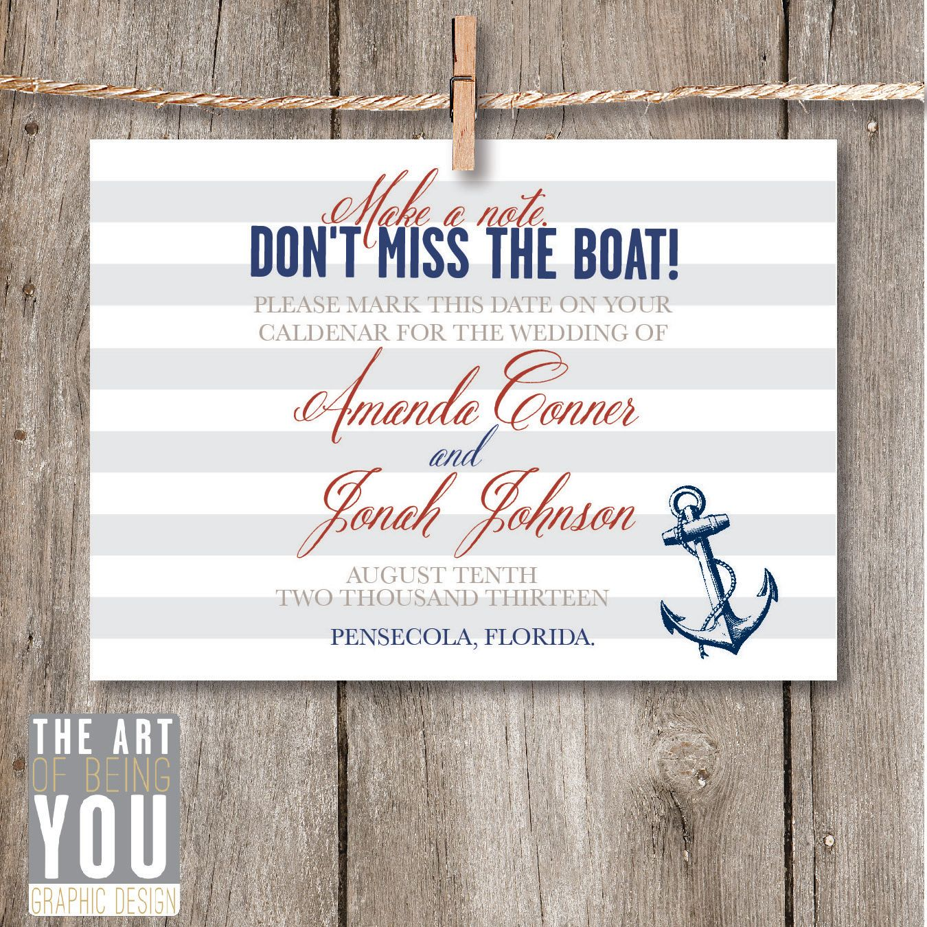 Printable Save the Date- Nautical / DIY Downloadable Save the Date ...
