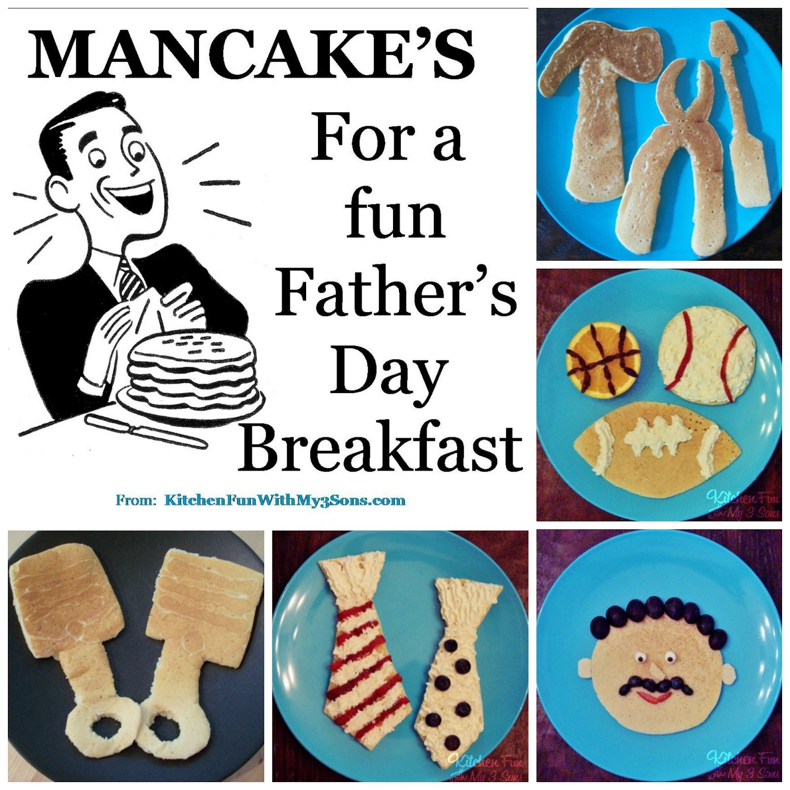 Mancakes for a Fun Father\'s Day Breakfast from Kitchen Fun with My 3 ...