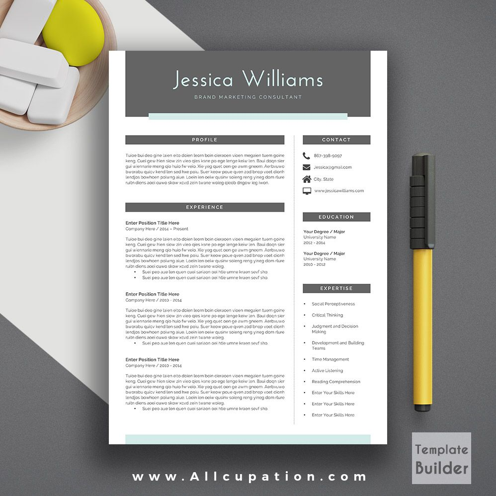 Template For A Cover Letter For A Resume%0A  allcupation Modern Resume Template  Cover Letter        Page Template
