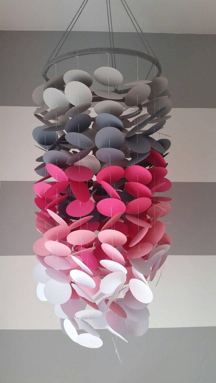 Deco Chambre Fille Fushia Et Gris decorative mobile in light gray, gray, fuschia, pink, white