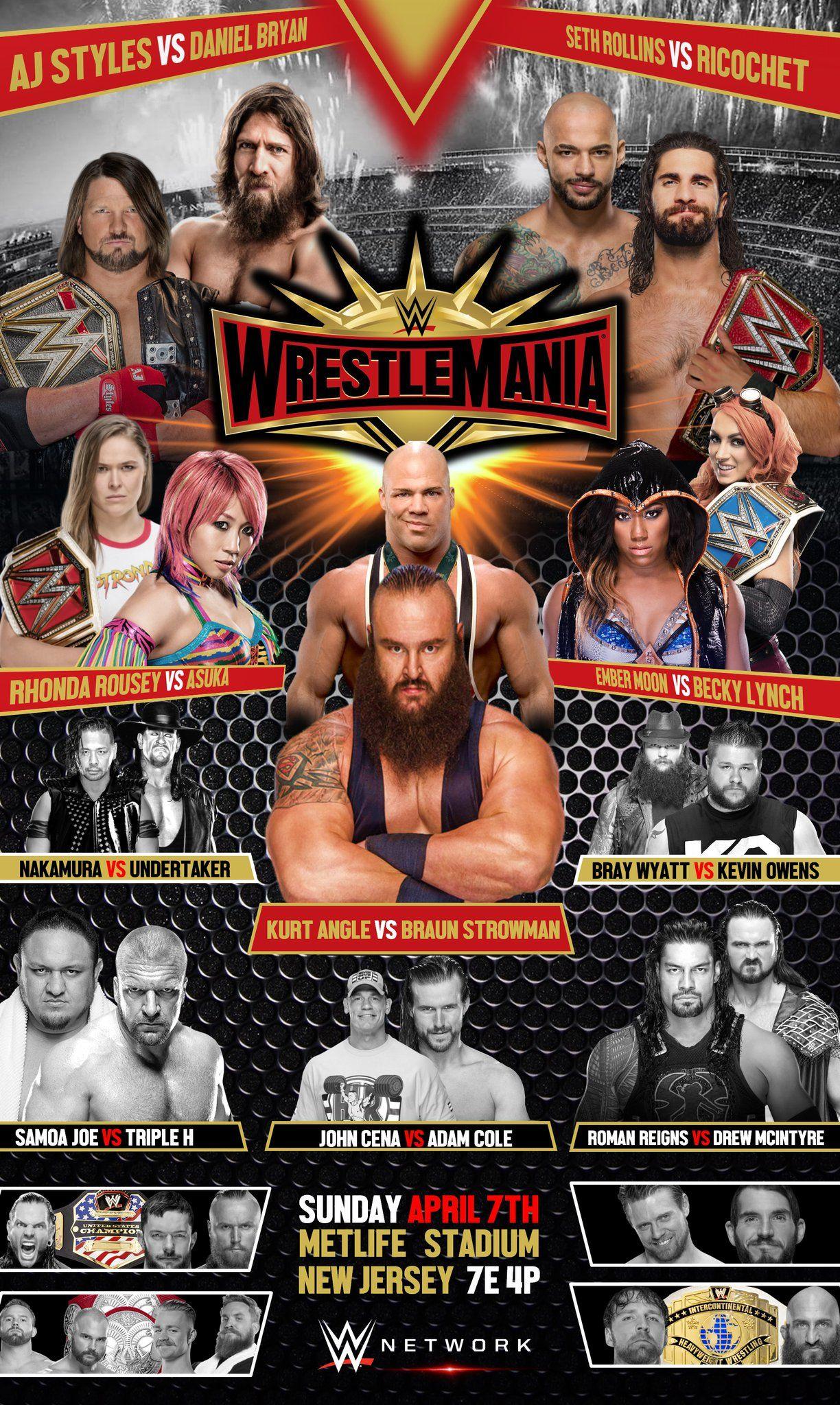 Wwe Wrestlemania 35 Poster Fantasy Match Wrestlemania 35 Wrestling Posters Wrestlemania