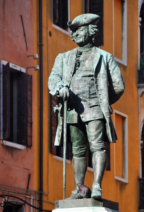 Italian Last Names And Meanings: Statue Of Playwright Carlo Goldoni, Whose Last Name Has An