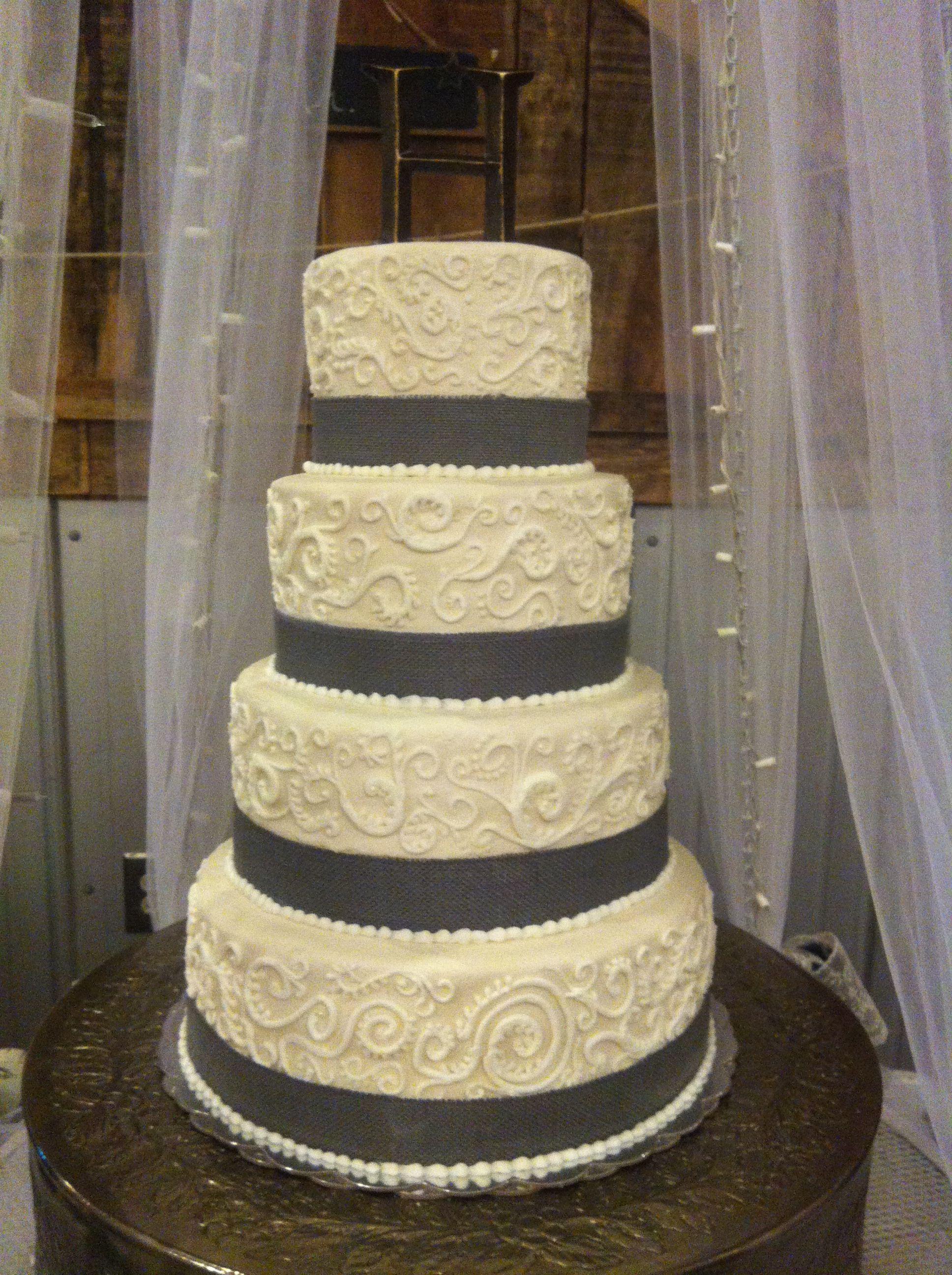 Zebra wedding decorations  Wedding cake with burlap and scroll work  Wedding  Pinterest