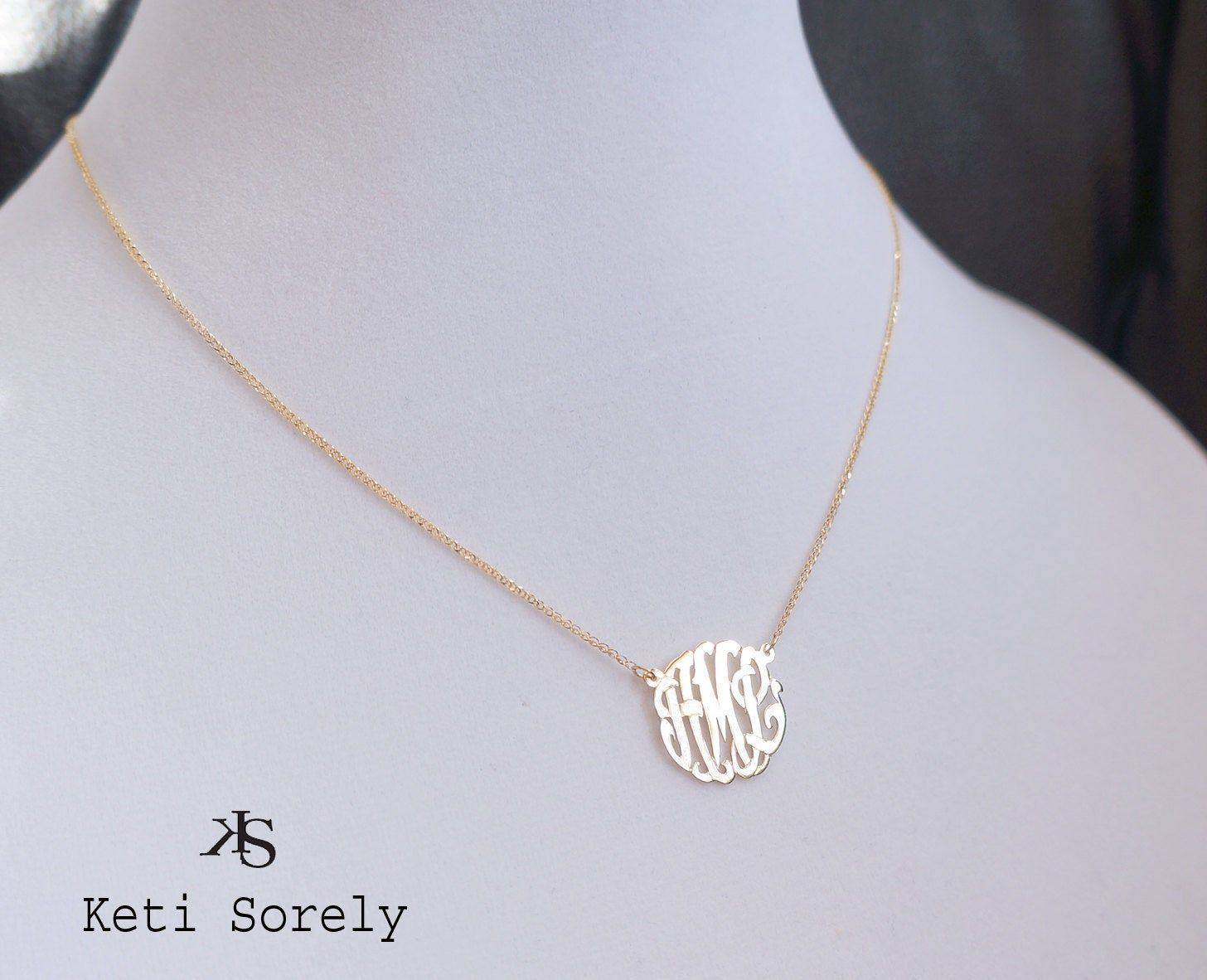 10k Yellow Rose Or White Solid Gold Monogram Necklace Etsy Monogram Necklace Gold Monogram Necklace Etsy Monogram Necklace