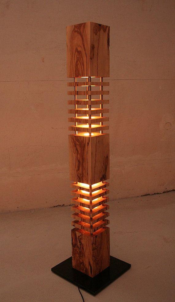 Lamp Designer Lamp Floor Lamp Made Of Olive Wood Wood Lamp