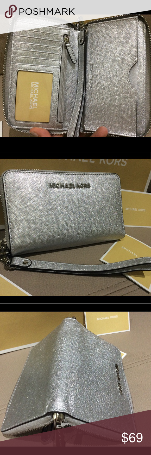 1805f1f9bb306c Michael kors wallet silver phone case saffiano Mk New with tag and care  card Michael Kors Bags Wallets