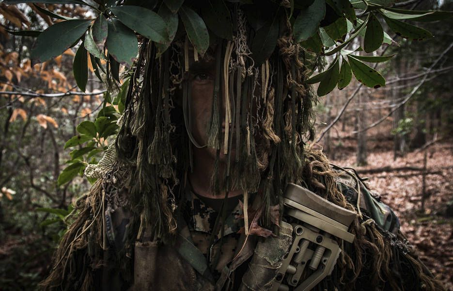 A US Marine assigned to the Scout Sniper School, Weapons Training