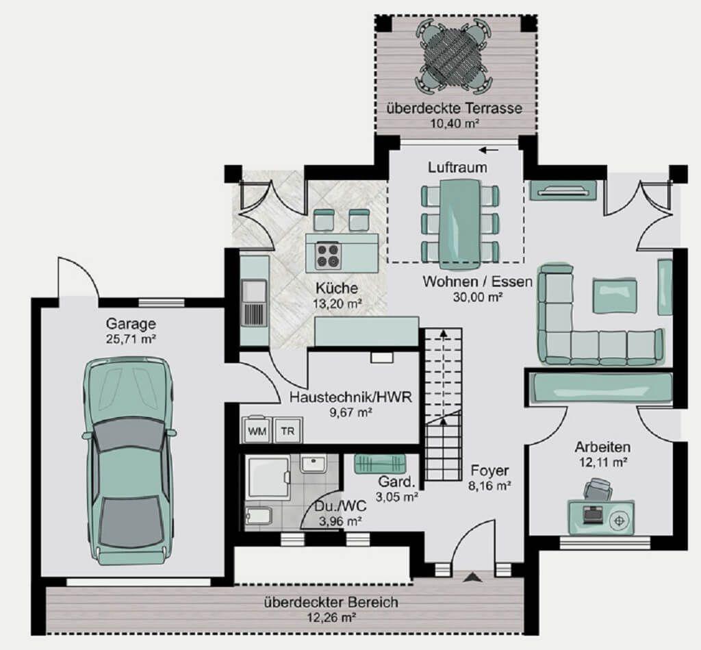 Grundriss Einfamilienhaus mit Garage - Haus Koeln von Streif Haus ...