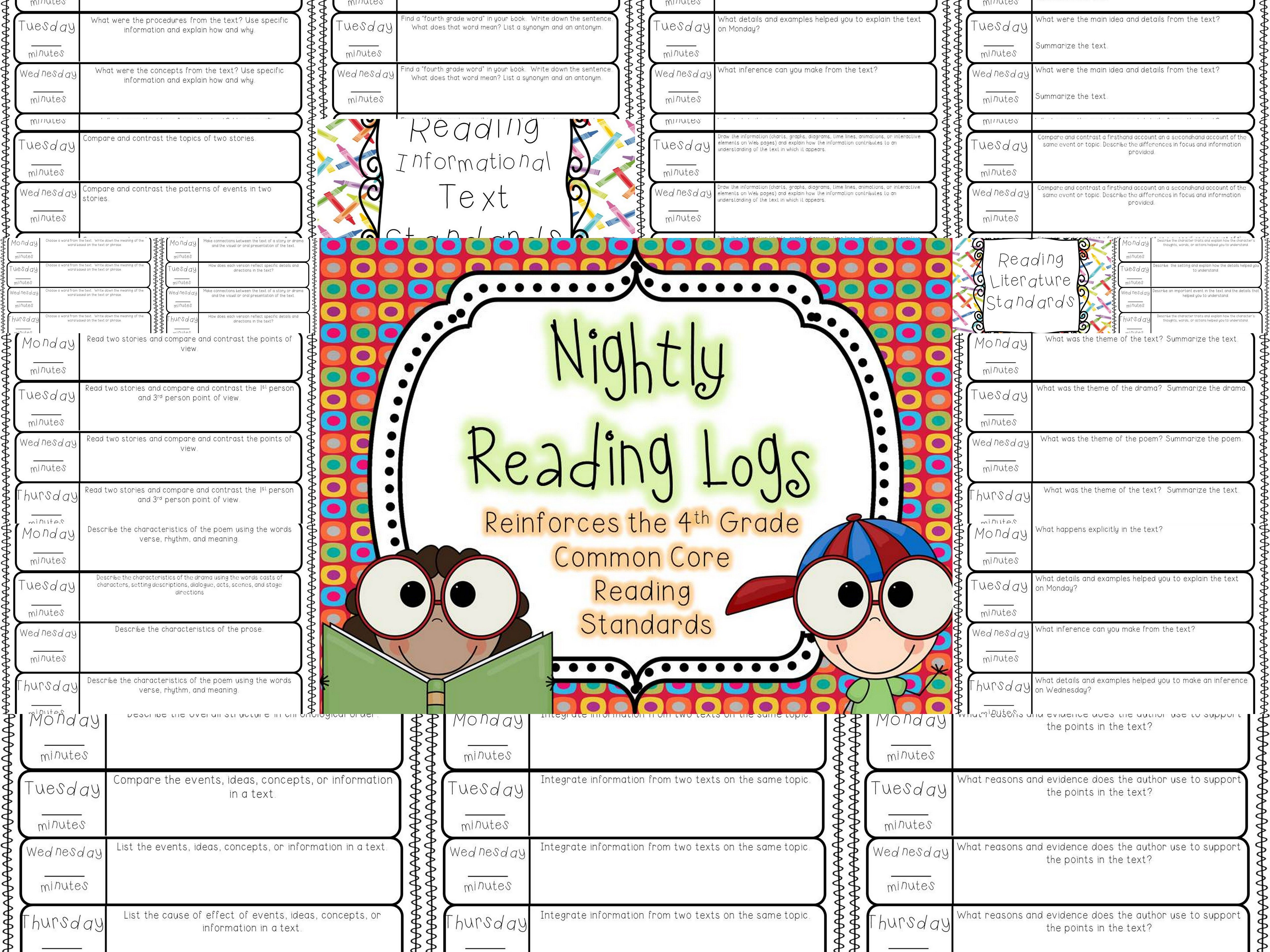 Nightly Reading Logs For Every 4th Grade Common Core