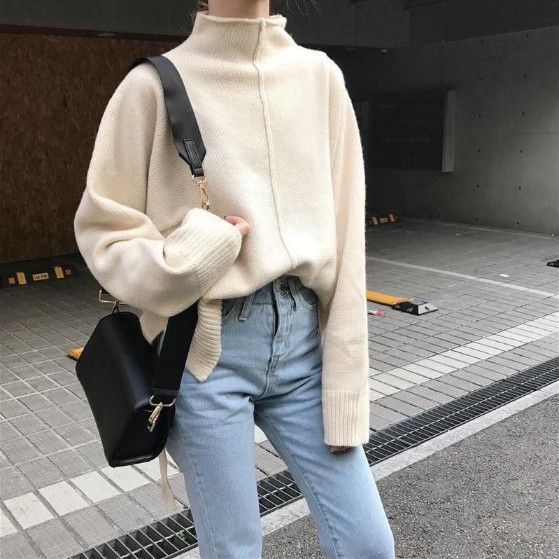 ItGirl Shop FRONT KNIT LINE COZY WARM LONG SLEEVE SWEATER