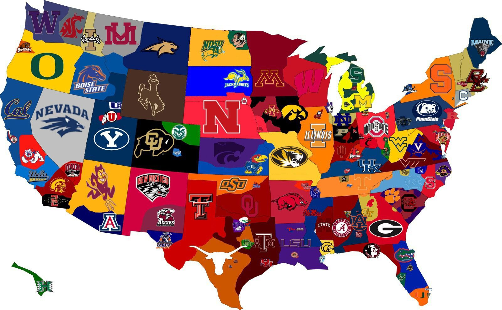 NCAA teams (With images) College football map, College