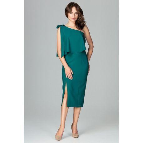 ac8ac30db0 Sukienka na jedno ramię z a la falbaną dodatkową narzutką w górnej części i
