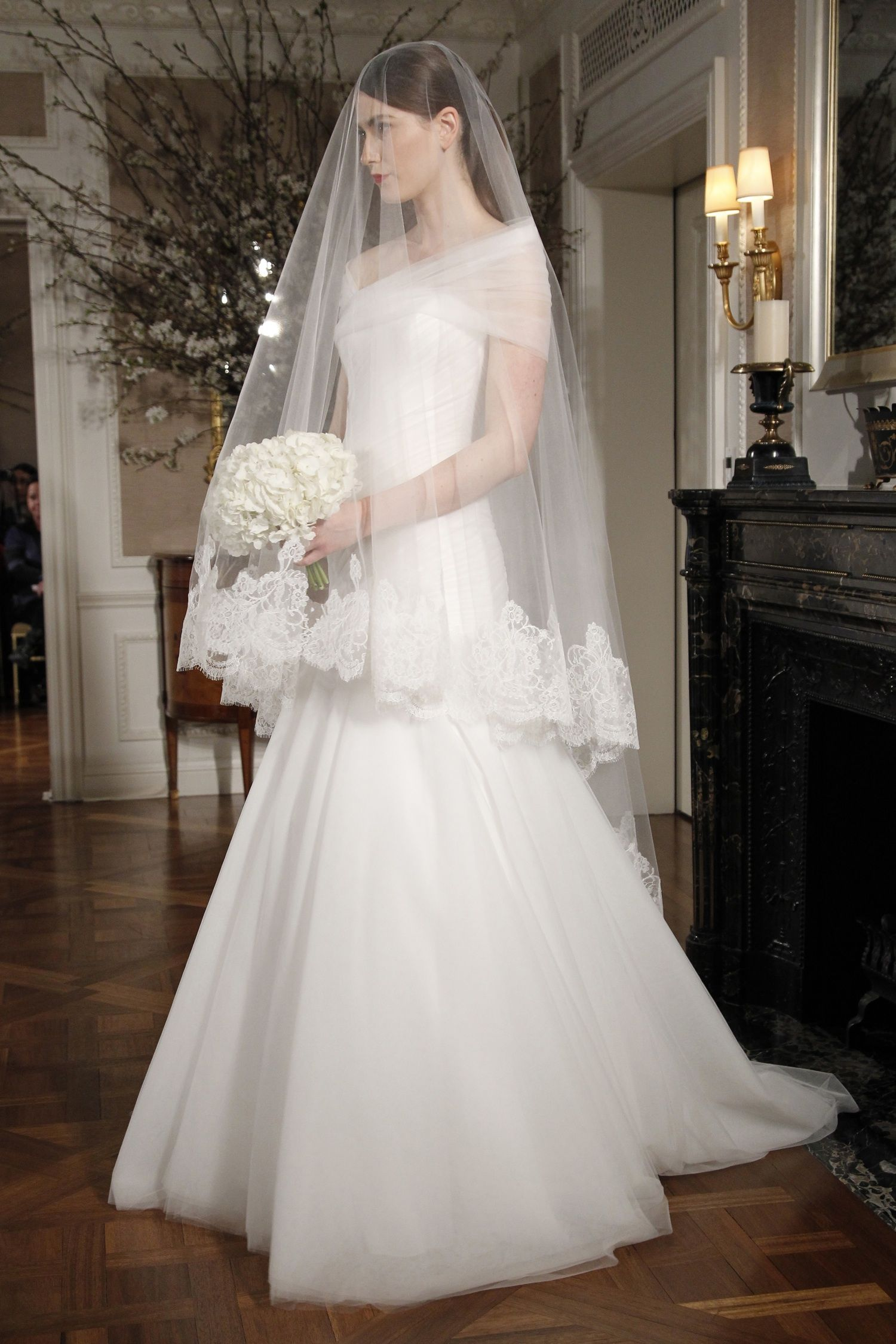 Simple ivory aline wedding dress with sheer offthe