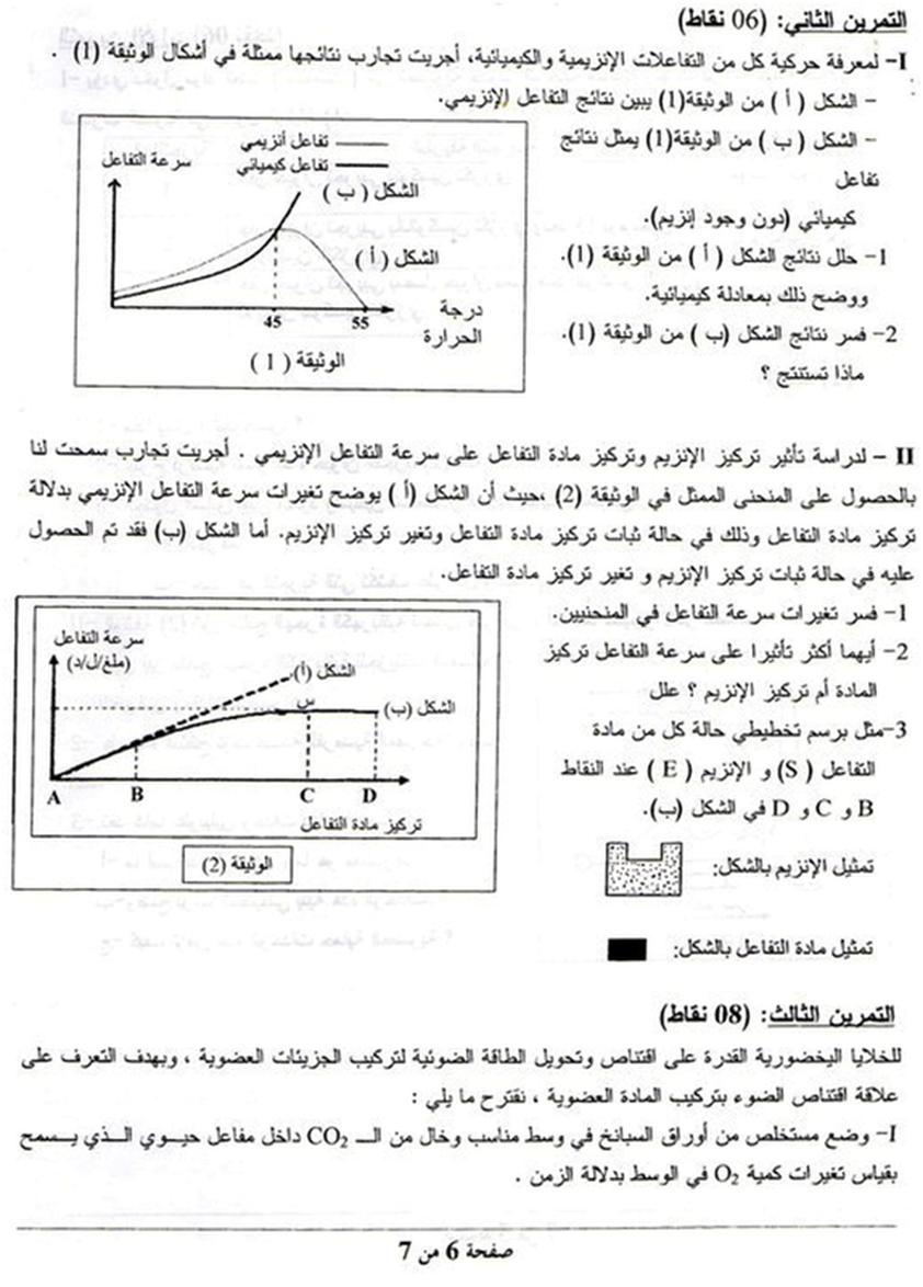موضوع التصحيح النموذجي العلوم الطبيعية لشعبة علوم تجريبية بكالوريا 2011 Jcl Diagram