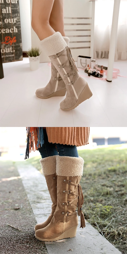 Fashion Womens Wedge Hel Over Knee Tall Knight Boot Snow Boots Shoes All US Sz