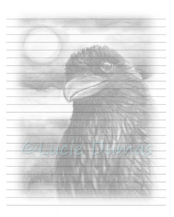 Digital Printable Journal writing lined Page Bird 64 Crow Raven - lined page