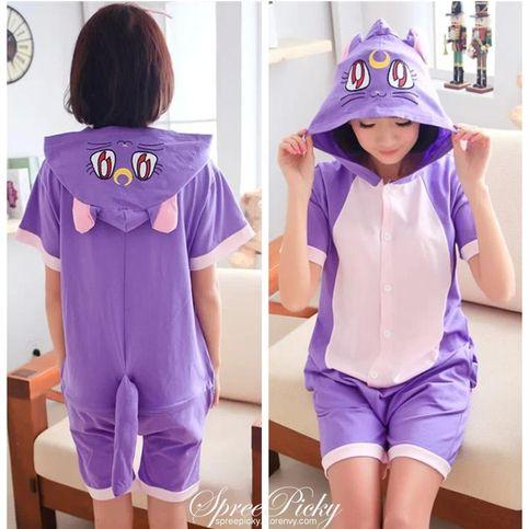 Kawaii Cartoon Onesie Sweethearts Short Sleeve Pajama Free Shipping SP140601 #cosplay #anime