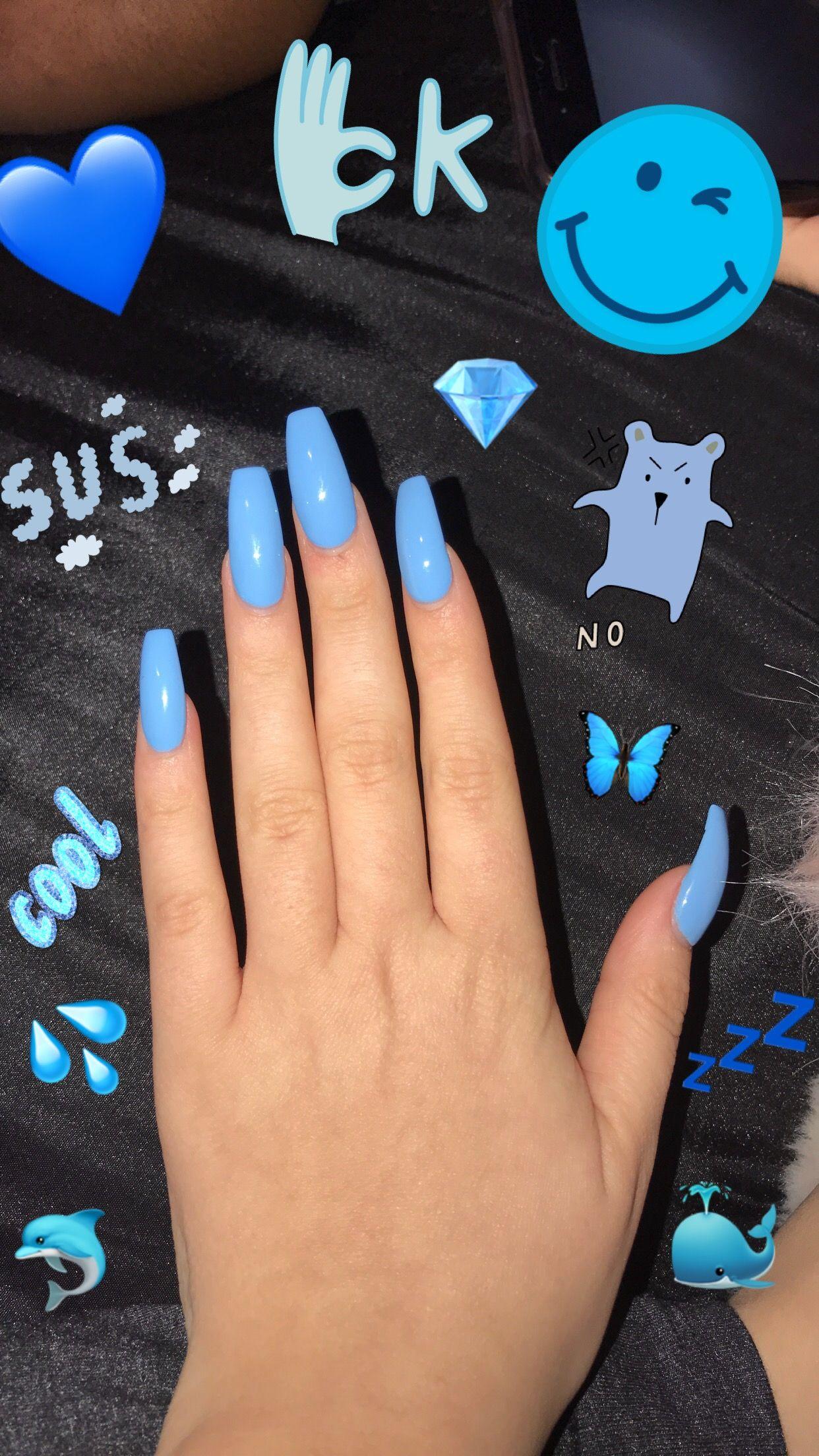 #blue #acrylic #nails #coffinnails