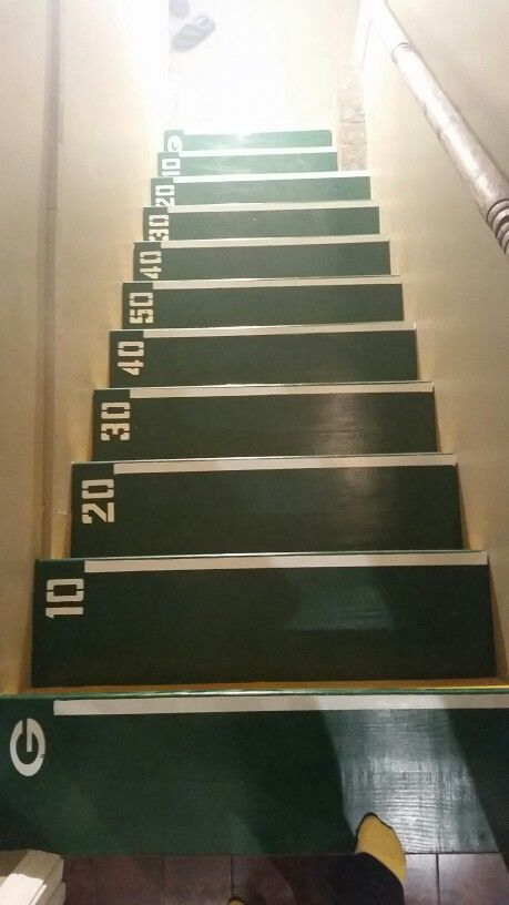 Stairs to my husband's man cave. Football themed. #basementmencave #garagemancaves