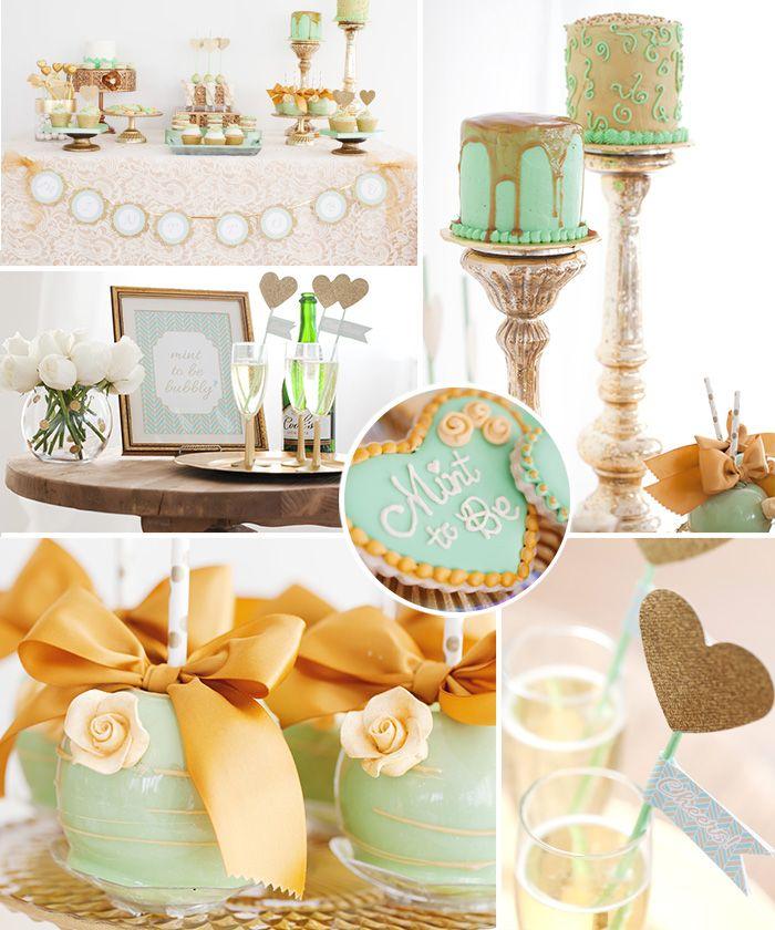 beautiful mint and gold bridal shower inspiration by celebration lane