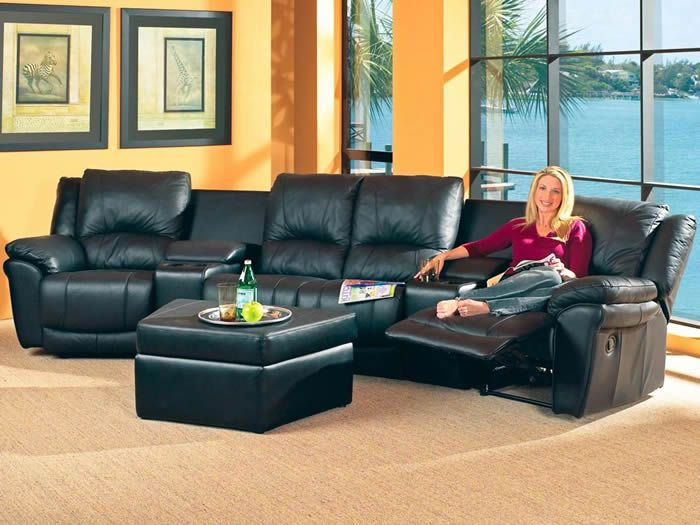 The Teramo Black Leather Recliners Sectional Sofa Features
