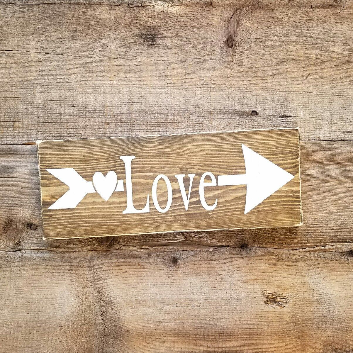Love Decor Signs Love Wood Signlove Wooden Sign Arrow Wooden Sign Rustic