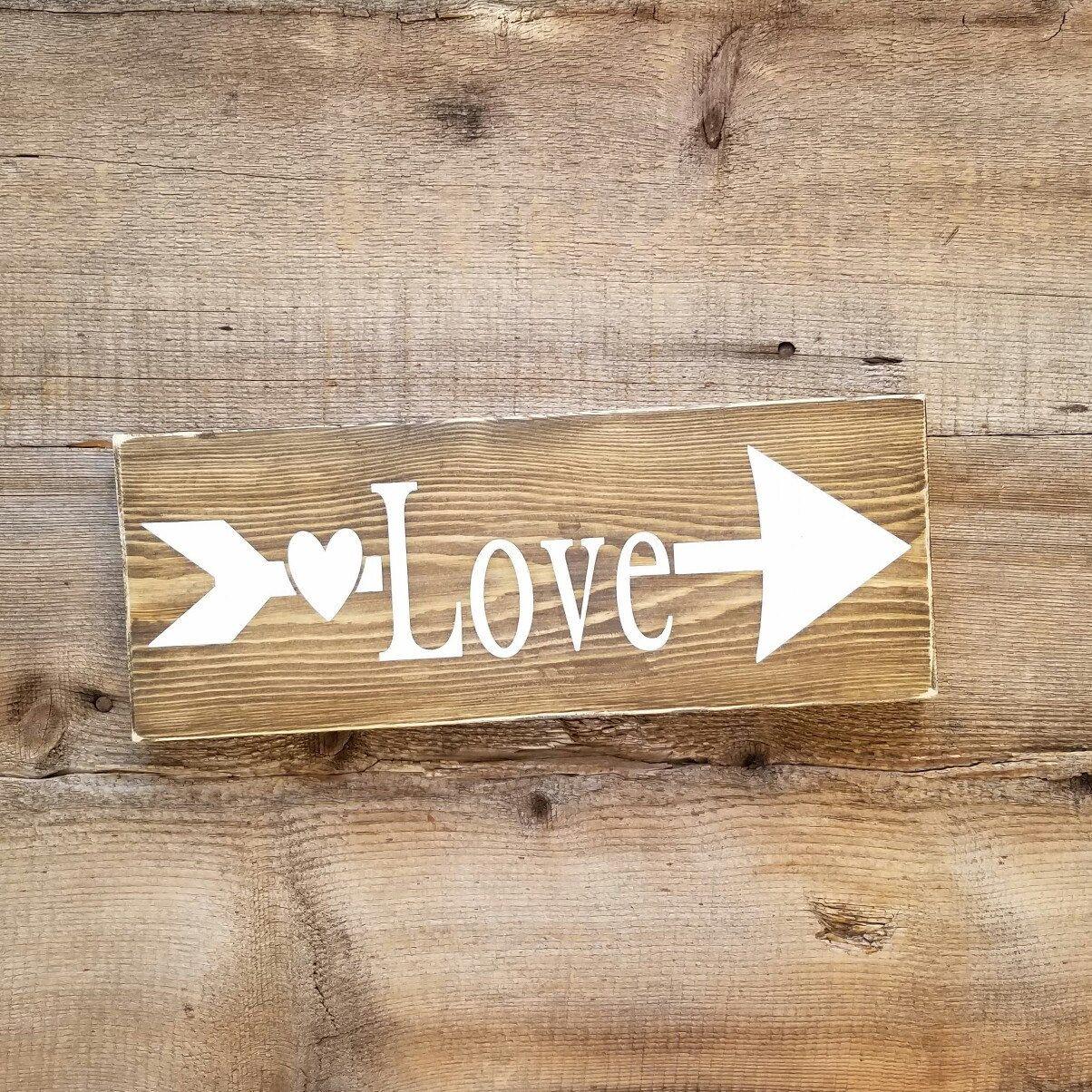 Love Decor Signs Impressive Love Wood Signlove Wooden Sign Arrow Wooden Sign Rustic Design Decoration