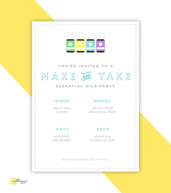 Printable Essential Oils Invitation Essential Oils Invite Make