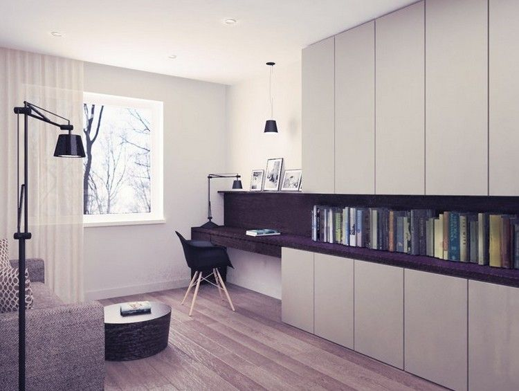 Schreibtisch büro modern  Schreibtisch und Einbauschrank ineinander übergehen | Schreibtisch ...