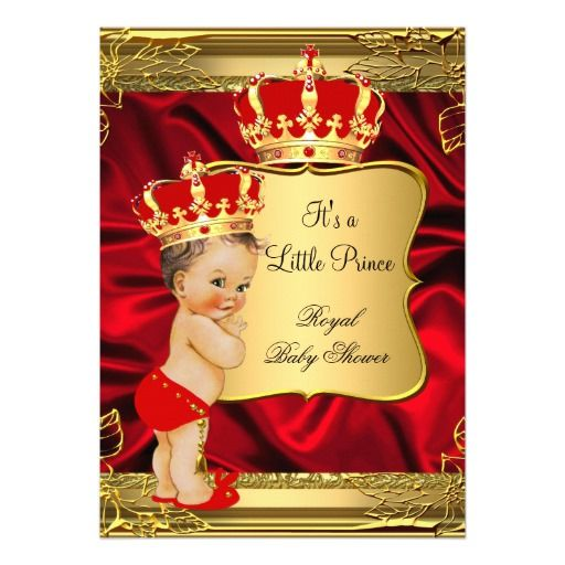 Red gold brunette baby boy prince baby shower card red gold baby red gold brunette baby boy prince baby shower card filmwisefo