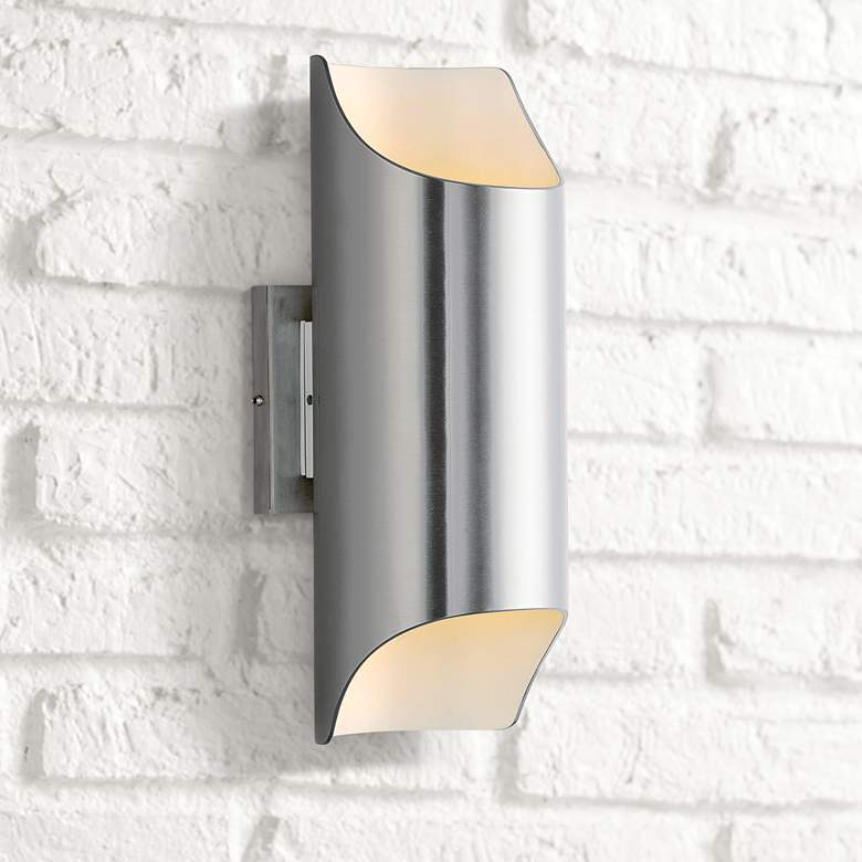 Lightray 13 3/4H Brushed Aluminum LED Outdoor Wall Light - #32C86 | Lamps Plus #backyardremodel