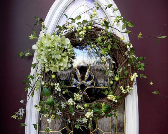 "image grapevine wreaths decorated   Grapevine Door Spring Wreath Decor..""Sassy Hydrangea"""