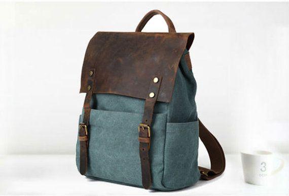 Canvas Backpack, backpack, Leather Canvas  Bag, messenger bag, student backpack, Handbag, laptop backpack on Etsy, $55.99