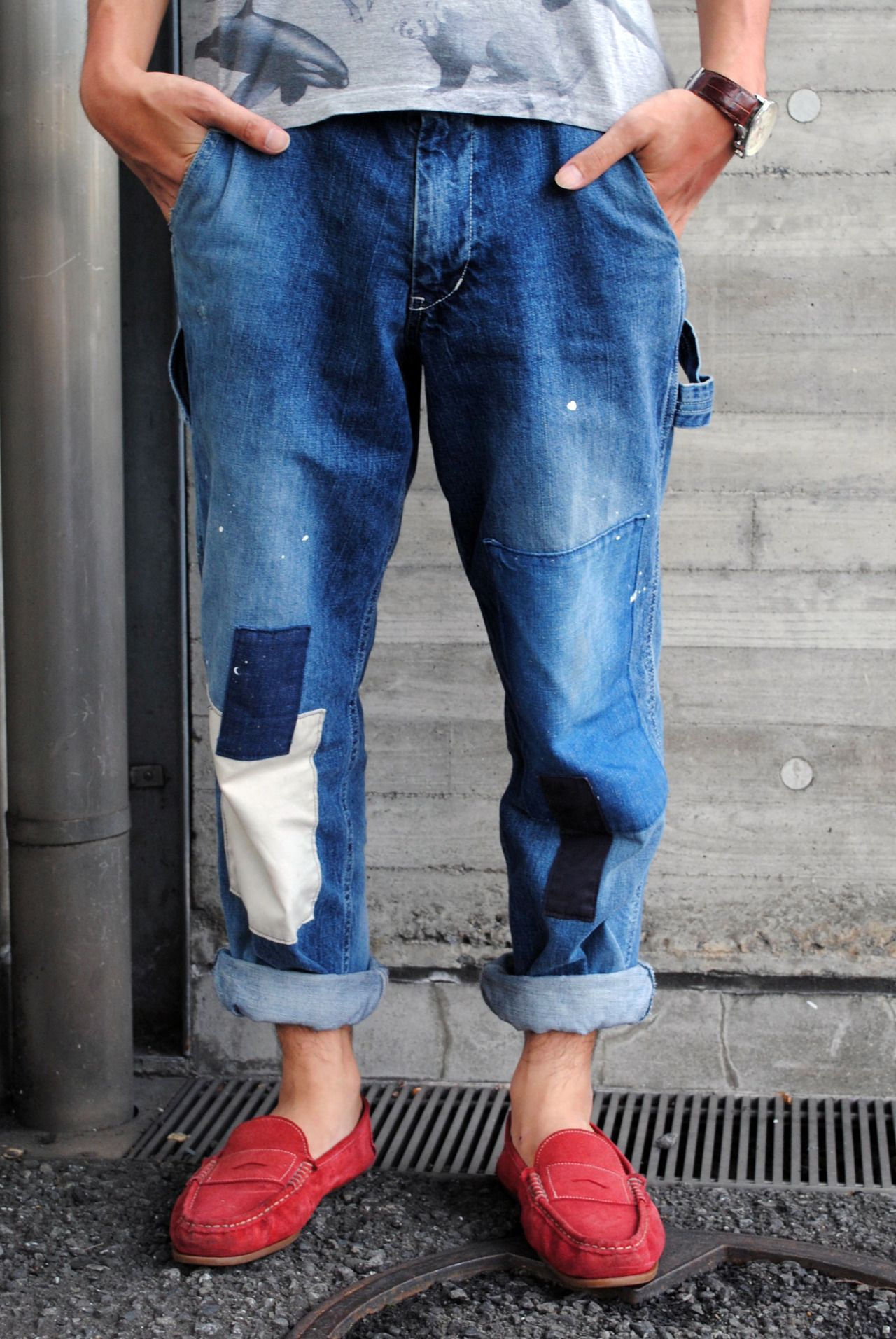 Lovely repaired jeans - no one does vintage denim quite like the Japanese! WGSN street shot, Tokyo #streetstyle