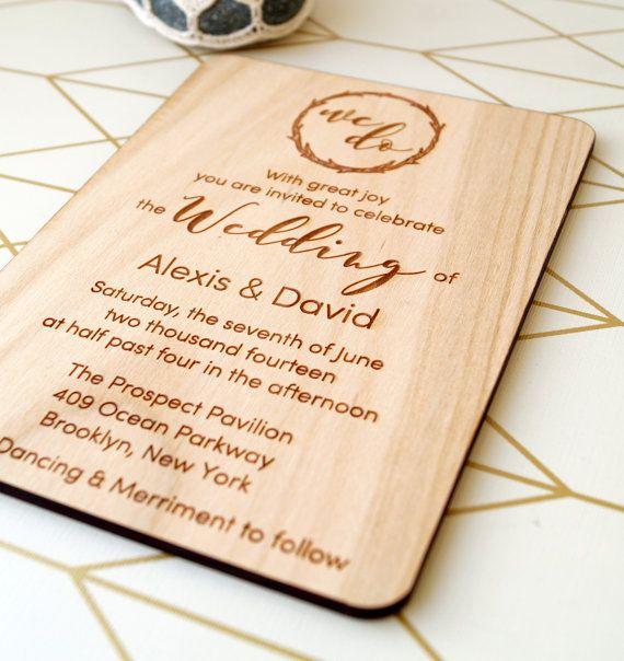 Wooden Wedding Invitation Rustic Wedding Invites Real Wood Etsy Wood Wedding Invitations Real Wood Wedding Invitations Wedding Invitations Rustic