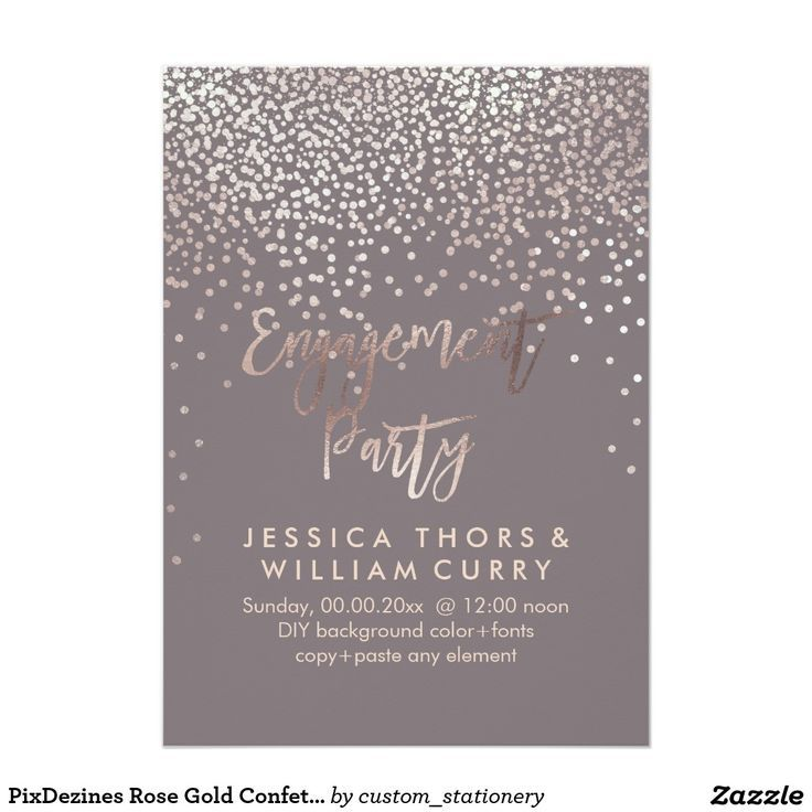 PixDezines Faux Rose Gold Confetti Engagement Card Gold confetti - engagement party invites templates