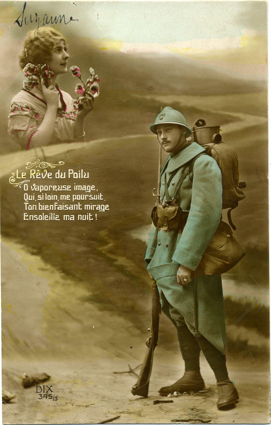 Le rêve du poilu Carte postale G.Piprot 1916 © L'Adresse Musée de La Poste / La Poste, DR ...