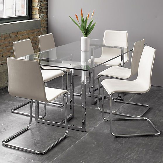 glass and chrome kitchen table // silverado rectangular dining ...