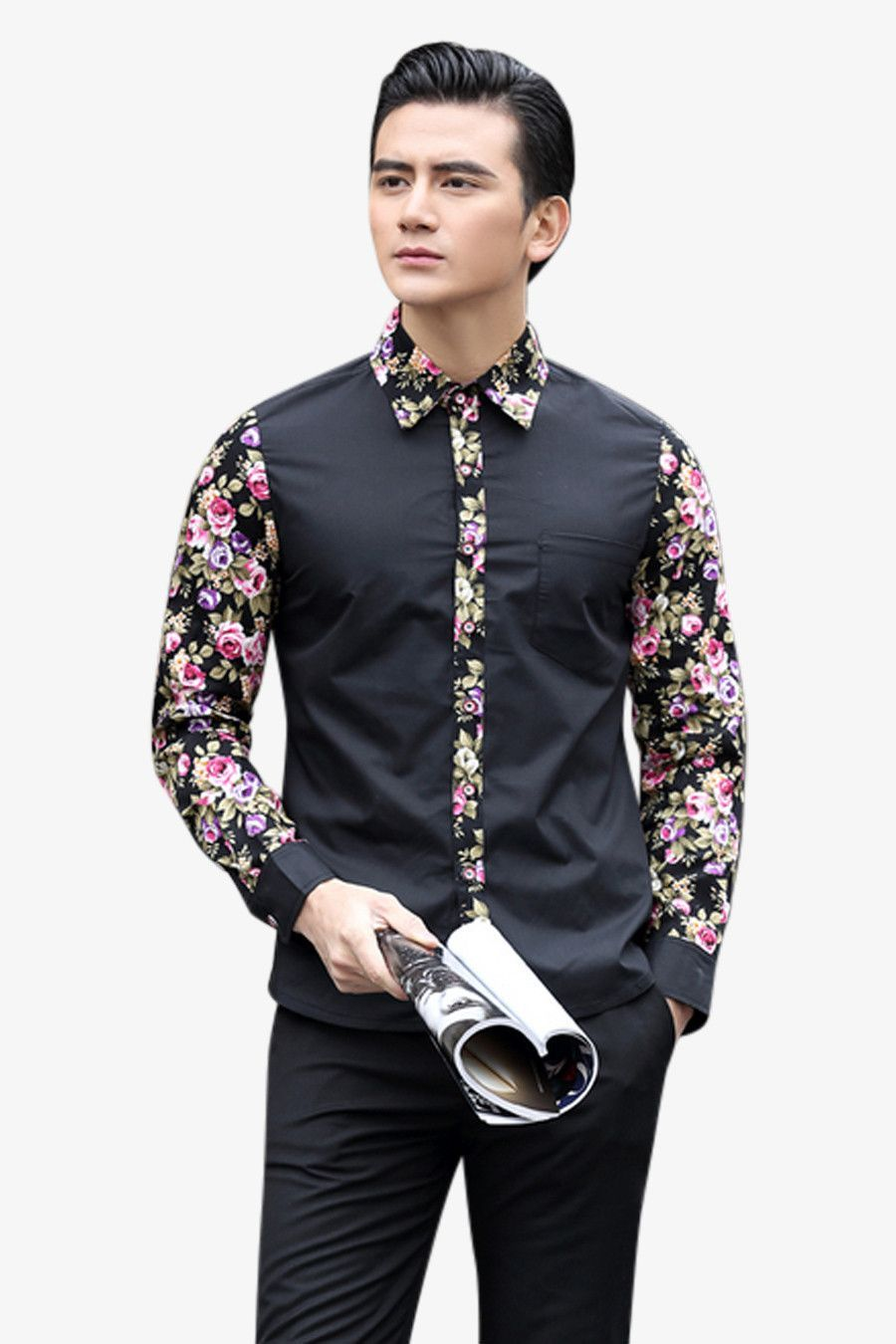Men's Floral Long Sleeve Shirt In Black | Senior Prom Suit Ideas ...