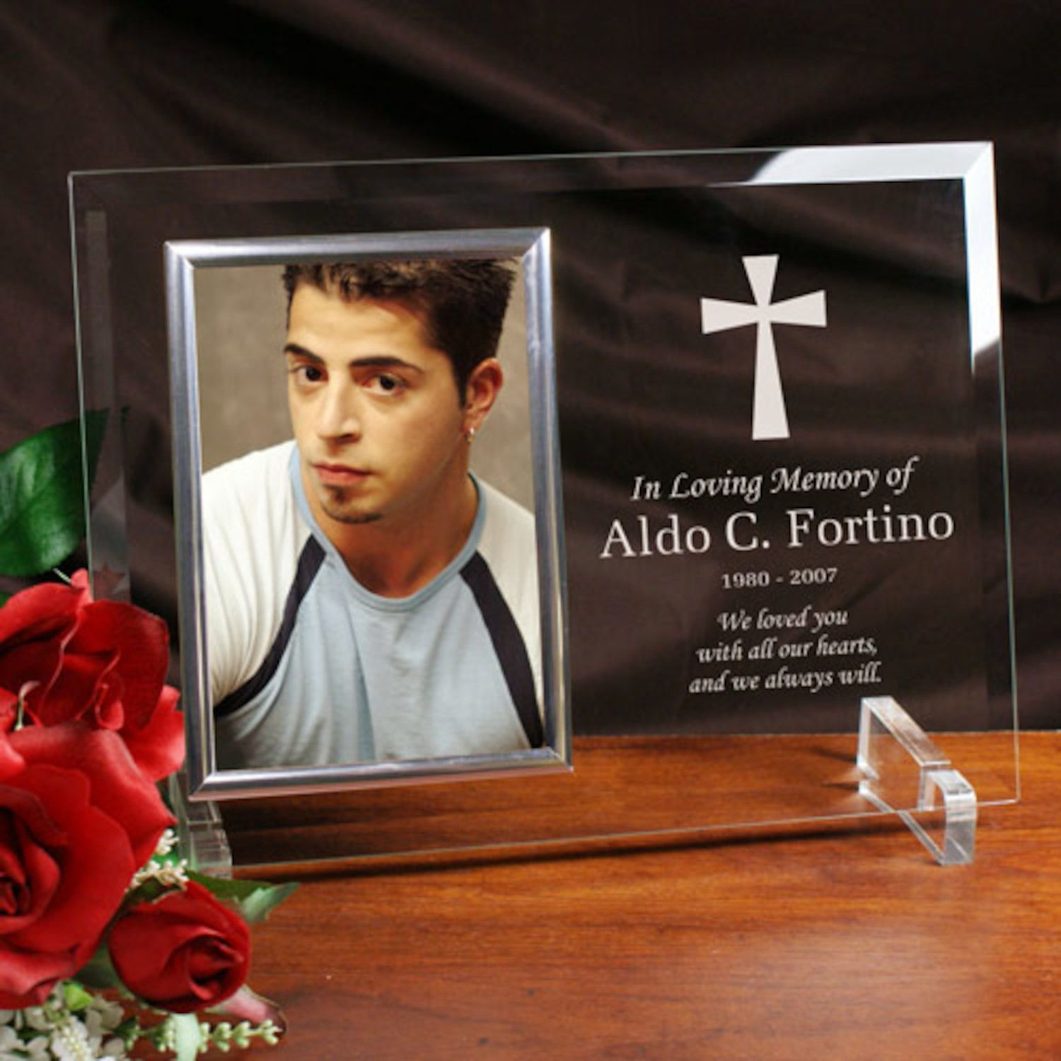 Personalized Engraved Memorial Beveled Glass Picture Frame ...