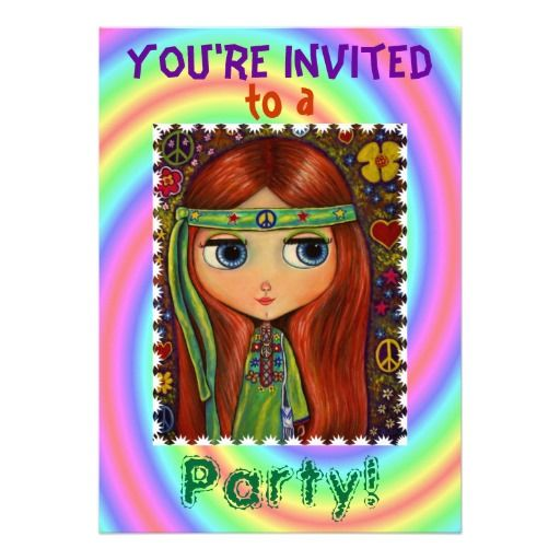 Groovy 60s 70s Hippie Chick Party Invitation Hippie chick and