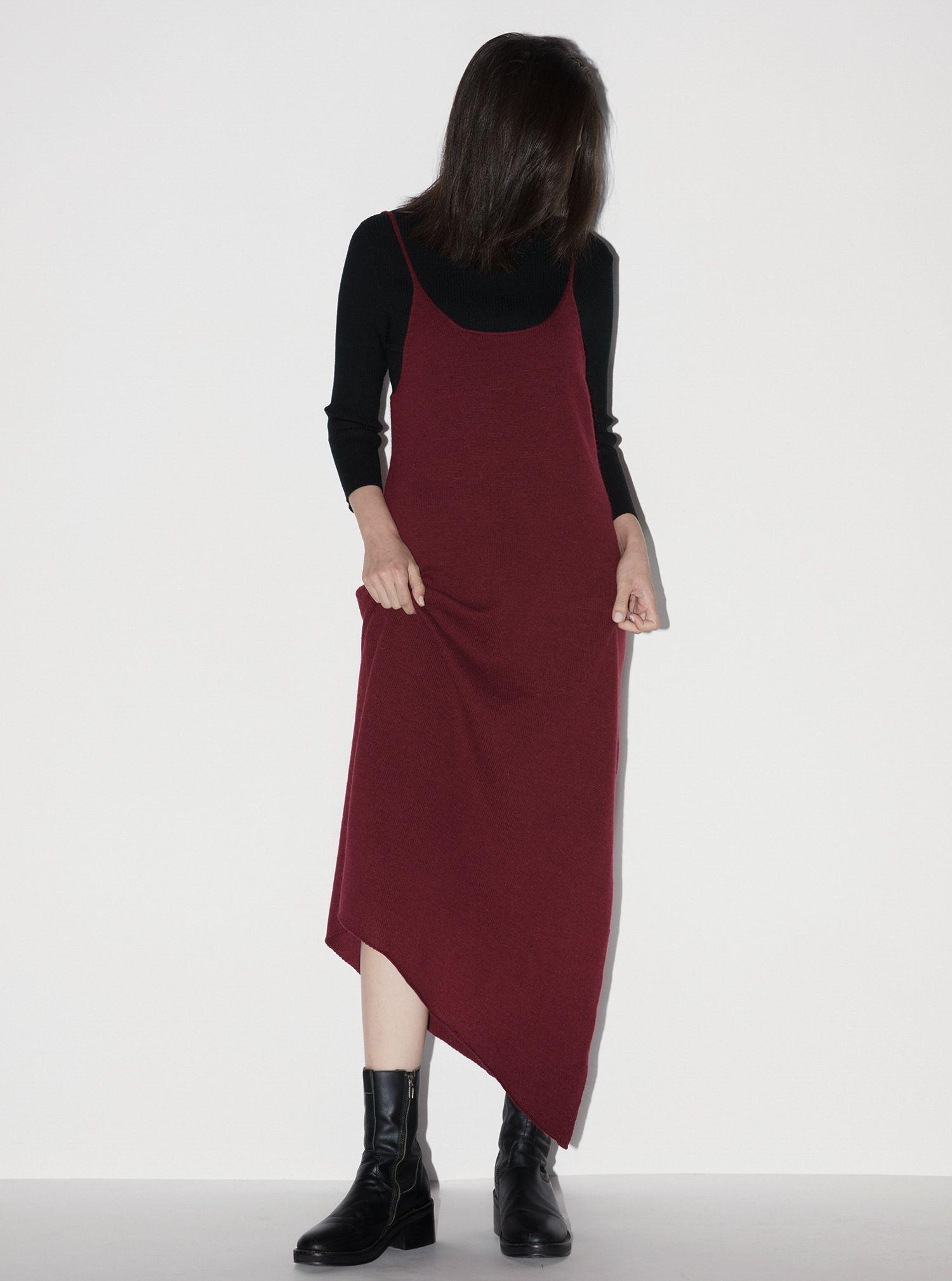 細肩帶斜下擺針織洋裝 (紅) (F) | #nude